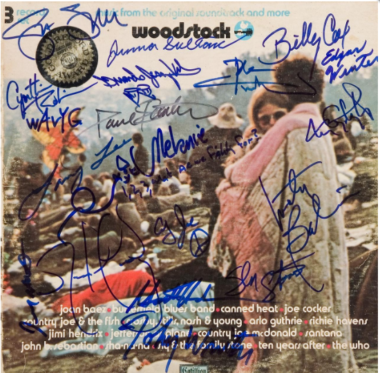 1969 Woodstock album cover, signed by 18 artists